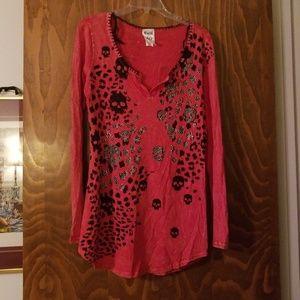 Vocal long sleeve T-shirt red leopard rhineston